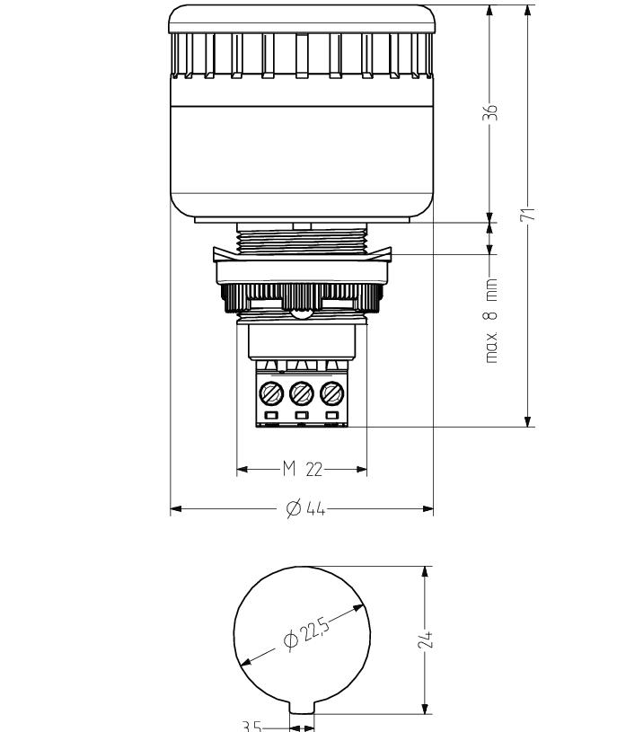 ESM звуковой сигнализатор с креплением на панели